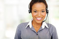 African call center operator portrait of pretty american Royalty Free Stock Photography