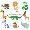 African cartoon animal turtle, giraffe, lion, zebra, crocodile, gazelle, zebra, monkey, elephant isolated on white