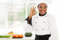 African chef ok beautiful young in hotel kitchen giving sign Stock Image