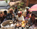 African chicken seller madagascar october busy crowded market in madagascar people selling live animals photo appropriate for Stock Photography