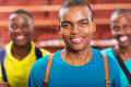 African college boy handsome american with friends on background Stock Photo