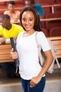 African college student pretty young american standing in classroom Stock Images