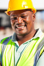 African construction worker cheerful american male outdoors Stock Image