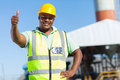 African construction worker happy giving thumb up Royalty Free Stock Photography