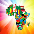 African Continent Flag Map Stock Images