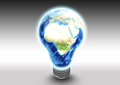 African continent in light bulb conceptual illustration of asian and european continents switched on with studio background global Stock Photo