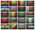 African countries from g to s waving flags of collage Royalty Free Stock Image