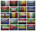 African countries from a to g waving flags of collage Stock Images