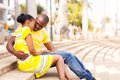 African couple dating city loving young in the Stock Photography