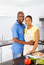 African couple in kitchen Royalty Free Stock Photography