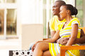 African couple resting lovely american after shopping Royalty Free Stock Photo