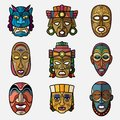 African craft voodoo tribal mask and inca south american culture totem Royalty Free Stock Photo