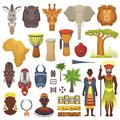 African culture vector characters in traditional clothing in Africa with ethnic tribal mask or drums in safari travel