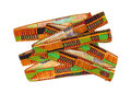 African design ribbon ties stacked two on a white background Royalty Free Stock Photo