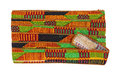 African design ribbon ties wound on a card on a white background Stock Images