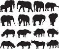 African elephant and Black rhinoceros silhouette contour
