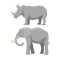 African elephant and rhinoceros cartoon vector illustration.