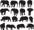 African elephant and white rhinoceros silhouette contour
