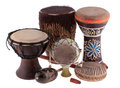 African ethnic drums from different countries Royalty Free Stock Image
