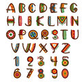 African ethnic primitive font. Hand drawn brightly safari vector alphabet Royalty Free Stock Photo