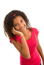 African ethnicity teenage girl on phone talking a cellphone isolated white background Stock Photography