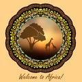 African evening savanna eps Royalty Free Stock Photo