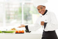 African female chef presenting cheerful vegetables Royalty Free Stock Photos