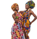 African female models posing in dresses colorful Royalty Free Stock Photos
