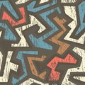 African geometric seamless pattern with wood effect