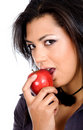 African girl biting an apple Royalty Free Stock Images