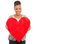 African girl red heart portrait of cute showing Royalty Free Stock Images