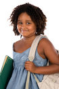 African girl student with folder and backpack Stock Image