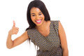 African girl thumb up cute giving over white background Royalty Free Stock Photos