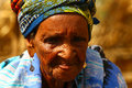African grandma of fulani origin shot in a remote village of the sub saharan sahel savanna Royalty Free Stock Photography