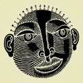 African head original woodcut Royalty Free Stock Photo