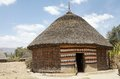 African hut tribal of the gurage ethnic group at the village along the road to addis abeba ethiopia Royalty Free Stock Images
