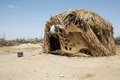 African hut at the village of the dasanech or galeb ethnic group along the shore of turkana lake ethiopia Stock Image