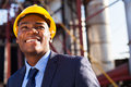 African industrial manager happy at oil refinery plant Royalty Free Stock Photo