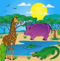 African landscape with animals vector illustration Royalty Free Stock Image