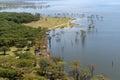 African landscape, bird's-eye view on lake Nakuru Royalty Free Stock Photo
