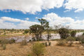 African Landscape of open savanna and river on sunny day, Tsavo Royalty Free Stock Photo