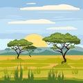 African landscape, savannah, nature, trees, wilderness