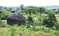 African life typical sub saharan house made of mud in dry season Royalty Free Stock Photos