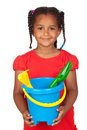 African little girl with beach toys Royalty Free Stock Photo