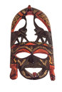 African maasai mask wooden isolated on white background Stock Images