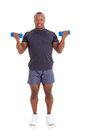 African man dumbbells portrait of muscular lifting on white background Stock Photos