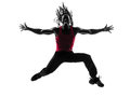 African man exercising fitness zumba dancing silhouette one in on white background Royalty Free Stock Photo