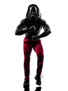 African man exercising fitness zumba dancing silhouette one in on white background Royalty Free Stock Images