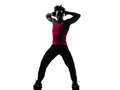 African man exercising fitness zumba dancing silhouette one in on white background Stock Photo