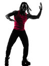 African man exercising fitness zumba dancing silhouette one in on white background Stock Image